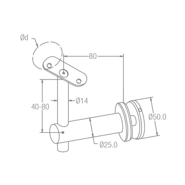 Handlaufträger für Rundrohre mit Punkthalter Ø 42.4mm