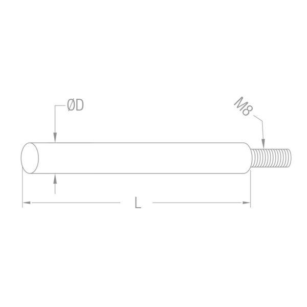 Verbindungsstift zum Schweißen Ø12 mm - 75mm Länge Edelstahl M8