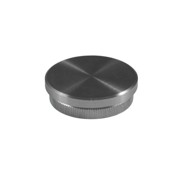 Endkappe aus Edelstahl für Ø 33.7mm/42,4mm/48,3mm Rundrohre mit 2.0mm flacher Rändelung