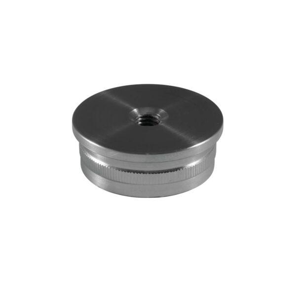 Endkappe aus Edelstahl für Ø 42,4mm/48,3mm Rundrohre mit M8 Innengewinde & 2.0mm gewölbter Rändelung