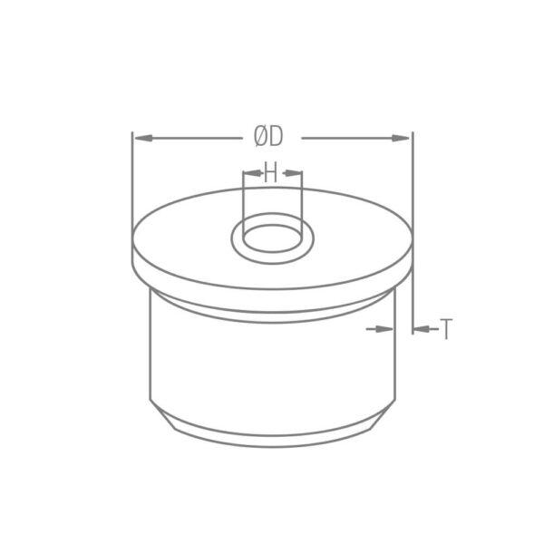 Endkappe zum Kleben aus Edelstahl für Ø 42,4mm/48,3mm Rundrohre mit M8 Innengewinde & 2.0mm gewölbter Rändelung