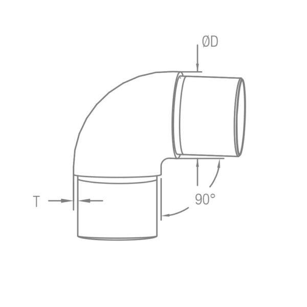 Runder Rohrverbinder Ø 42.4 x 2.0 mm 90° Winkel für 42,4mm Rundrohre
