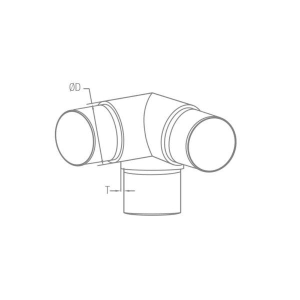 Rohrverbinder Ø 42.4 x 2.0 mm 90° Winkel mit Abgang für 42,4mm Rundrohre