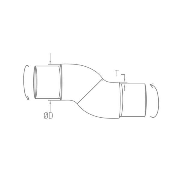 Flexibler Rohrverbinder Ø 42.4 x 2.0 mm frei verstellbar für 42,4mm Rundrohre
