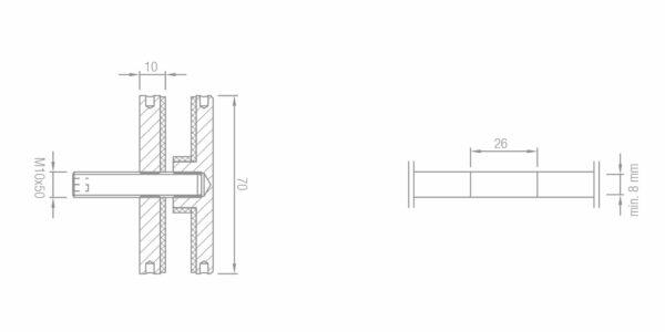 Montage Glas Punkthalter Ø70 mm unten Edelstahl Glasstärke min. 8mm inkl. Zubehör Glasmontage