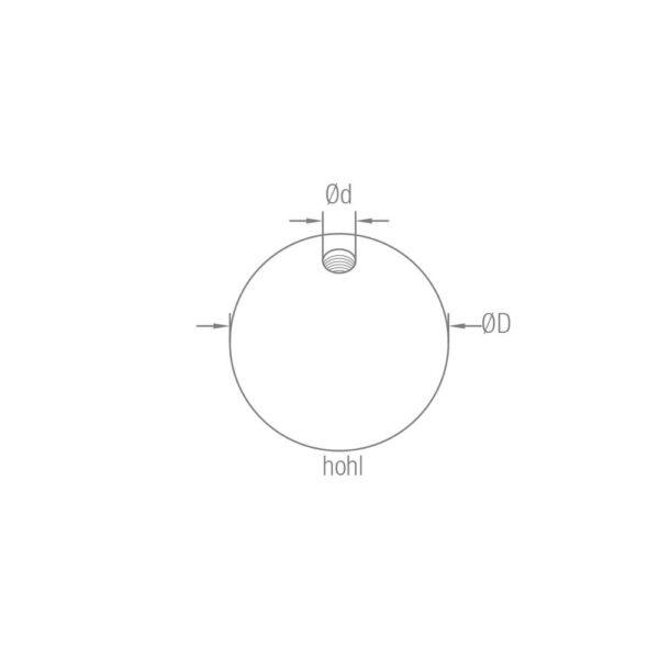 Endkugel aus Edelstahl mit Durchmesser 40/50/60 mm innen hohl M8 Gewinde