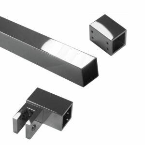 Montage Duschtüren Stabilisationsstangenset eckig Messing Duschtürbeschläge