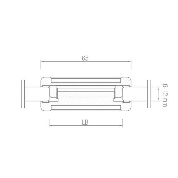 Muschelgriff beidseitig Ø65 mm Glastüren Zubehör Glasmontage Glasstärken von 6-12mm