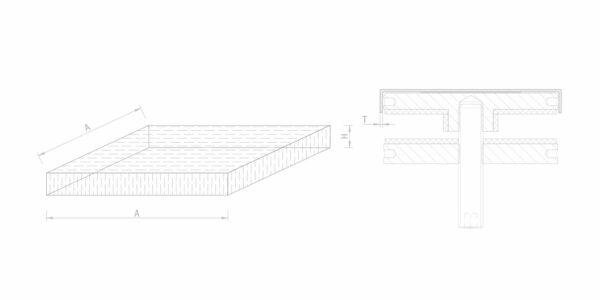 Montage Glas QUADRO-Abdeckung (rechteckig) für Punkthalter 50/60/70mm Durchmesser Glasmontage