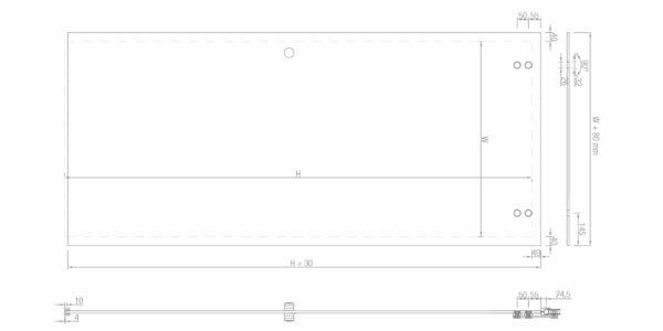 Edelstahl-Schiebetür-Beschlag-Set für GlastürenZubehör Glasmontage Glasstärken von 8-10mm