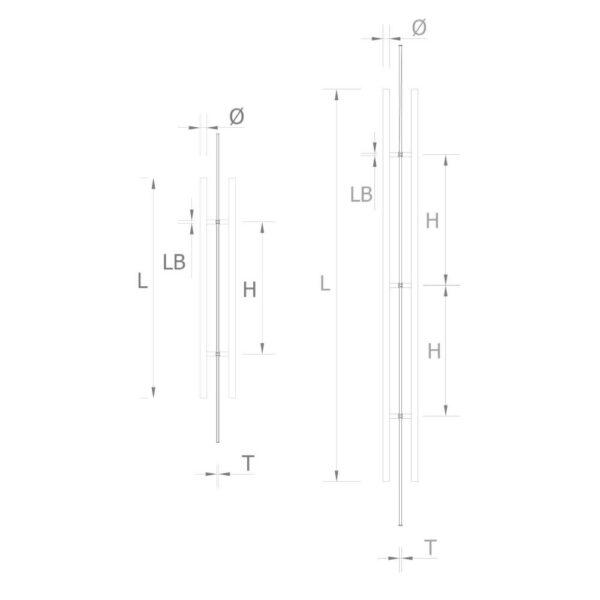 Edelstahlstossgriff verschiedene Längen & Durchmesser mm Glastüren Zubehör Glasmontage